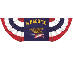 Oversized 3x9' Welcome Eagle Arrow Pleated Bunting Decora...