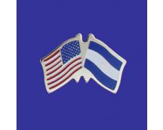 El Salvador Lapel Pin (Double Waving Flag w/USA)