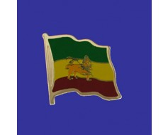 Ethiopia (lion design) Lapel Pin (Single Waving Flag)