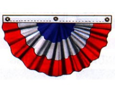 Patriotic Pleated Fan (Nylon, 3 Sewn Stripes)