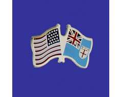 Fiji Lapel Pin (Double Waving Flag w/USA)