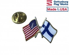 Finland Lapel Pin (Double Waving Flag w/USA)