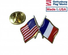 France Lapel Pin (Double Waving Flag w/USA)