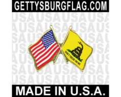Gadsden Lapel Pin (Double Waving Flag w/USA)
