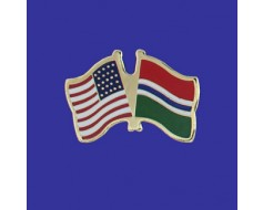Gambia Lapel Pin (Double Waving Flag w/USA)