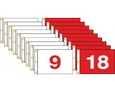 """Golf Flag Set 1-18 (Red & White) - 14x20"""""""