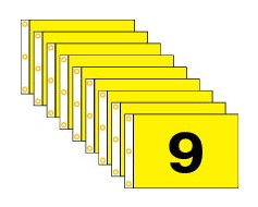Golf Flag Set 1-9,  (Black on Yellow) - 14x20""