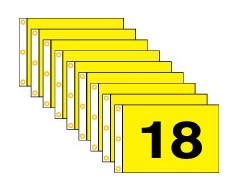 Golf Flag Set 10-18 (Black on Yellow) - 14x20""