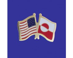 Greenland Lapel Pin (Double Waving Flag w/USA)