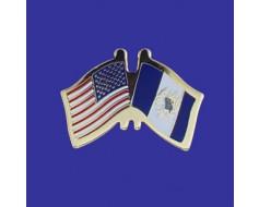 Guatemala (seal design) Lapel Pin (Double Waving Flag w/USA)