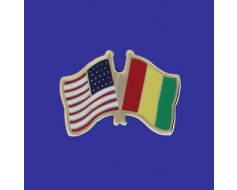 Guinea Lapel Pin (Double Waving Flag w/USA)