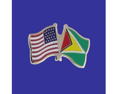 Guyana Lapel Pin (Double Waving Flag w/USA)