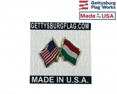 Hungary Lapel Pin (Double Waving Flag w/USA)