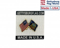 Idaho State Flag Lapel Pin (Double Waving Flag w/USA)