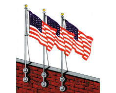 Vertical Wall Flag Pole Set