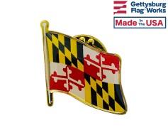 Maryland State Flag Lapel Pin (Single Waving Flag)