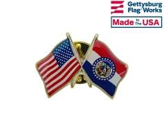 Missouri State Flag Lapel Pin (Double Waving Flag w/USA)