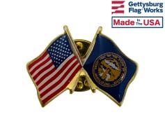 Nebraska State Flag Lapel Pin (Double Waving Flag w/USA)