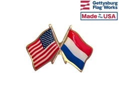 Netherlands Lapel Pin (Double Waving Friendship with USA ...