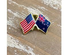 New Zealand Lapel Pin (Double Waving Flag w/USA)