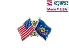 Pennsylvania State Flag Lapel Pin (Double Waving Flag w/USA)