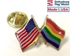 Pride Lapel Pin (Double Waving Flag w/USA)