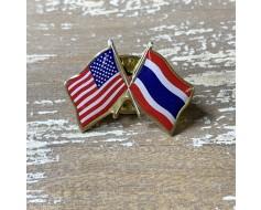 Thailand Lapel Pin (Double Waving Flag w/USA)