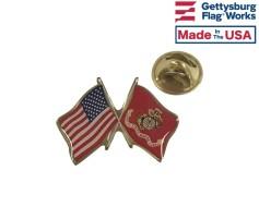 Marine Corps Flag Lapel Pin (Double Waving Flag w/USA)