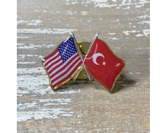 Turkey Lapel Pin (Double Waving Flag w/USA)