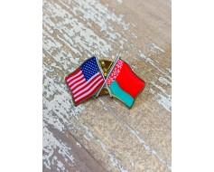 Belarus Lapel Pin (Double Waving Flag w/USA)