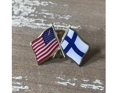 Finland Lapel Pin (Double Waving Flag w/USA)