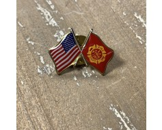 Fire Department Lapel Pin (Double Waving Flag w/USA) Fire...