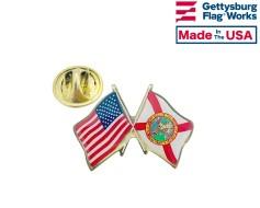 Florida State Flag Lapel Pin (Double Waving Flag w/USA)