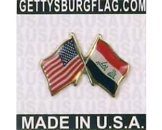 Iraq Lapel Pin (Double Waving Flag w/USA)
