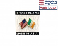 Ireland Lapel Pin (Double Waving Friendship with USA Flag)