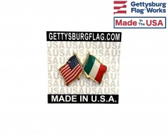 Italy Lapel Pin (Double Waving Friendship with USA Flag)