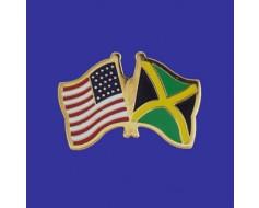 Jamaica Lapel Pin (Double Waving Flag w/USA)