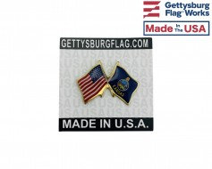Kansas State Flag Lapel Pin (Double Waving Flag w/USA)