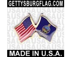 Kansas State Flag Lapel Pin (Double Waving Flag w/USA)