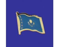 Kazakhstan Lapel Pin (Single Waving Flag)