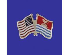 Kiribati Lapel Pin (Double Waving Flag w/USA)