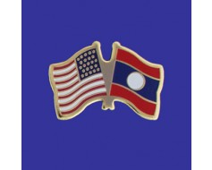 Laos Lapel Pin (Double Waving Flag w/USA)