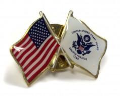 Coast Guard Flag Lapel Pin (Double Waving Flag w/USA)