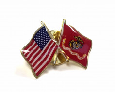 Marine Corps Flag Lapel Pin (Double Waving Flag w/USA)