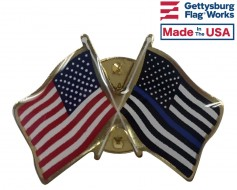 Thin Blue Line Lapel Pin (double waving with USA)