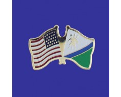 Lesotho Lapel Pin (Double Waving Flag w/USA)