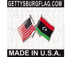 Libya Lapel Pin (Double Waving Flag w/USA)