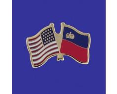 Liechtenstein Lapel Pin (Double Waving Flag w/USA)