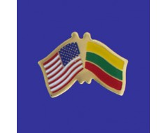 Lithuania Lapel Pin (Double Waving Flag w/USA)