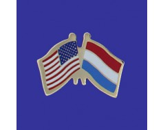 Luxembourg Lapel Pin (Double Waving Flag w/USA)